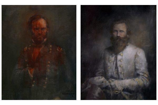 Portraits of William Tecumseh Sherman and J.E.B. Stuart