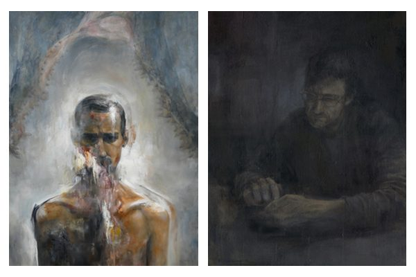 An abstract portrait of a shirtless man from the torso up, and a dimly lit portrait of a man at a table