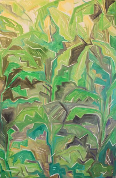 An abstract painting of a close-up of jungle vines
