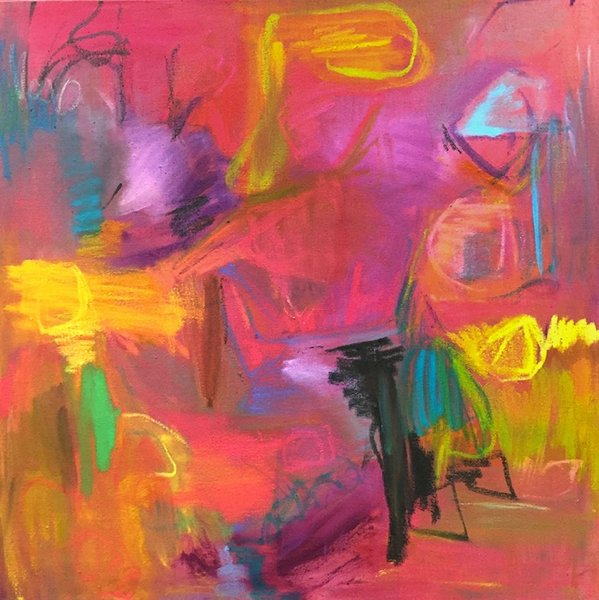An abstract painting featuring hot pink, bright yellow, and green