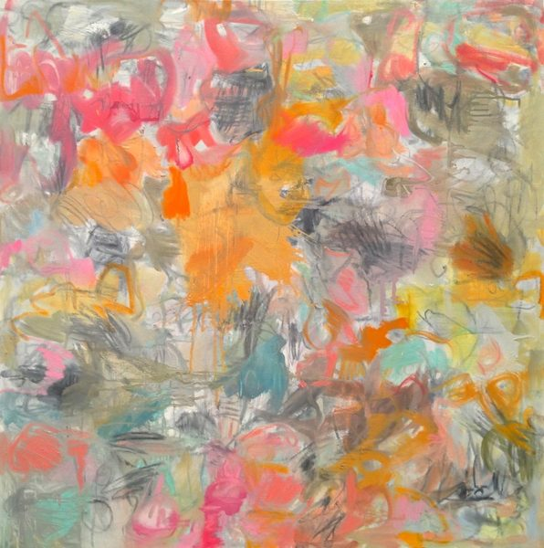 An abstract painting featuring pink butterflies on a blue-grey background