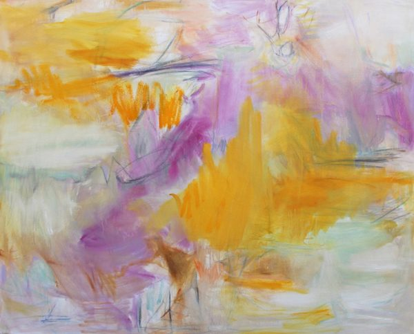 An abstract painting with purple and gold sections