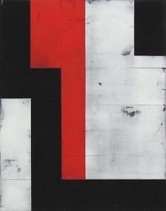 An abstract painting of red, black, and grey blocks