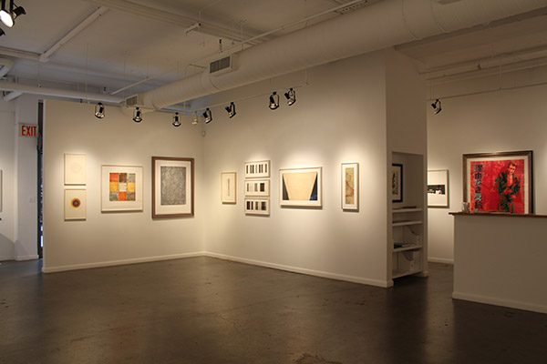 A gallery view of a printmaking exhibition at the Curator Gallery