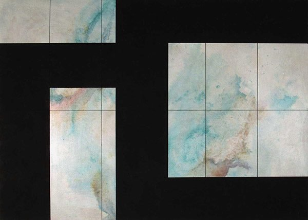 An abstract print painting of marbled blue tile with black blocks over it