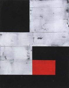 An abstract painting of red and grey tile with black blocks over it