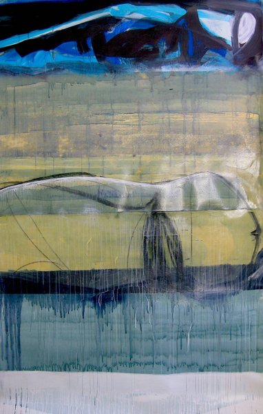 a painting of a whale's tale on top of an abstract backgound