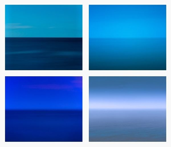 A series of abstracted photographs of seascapes