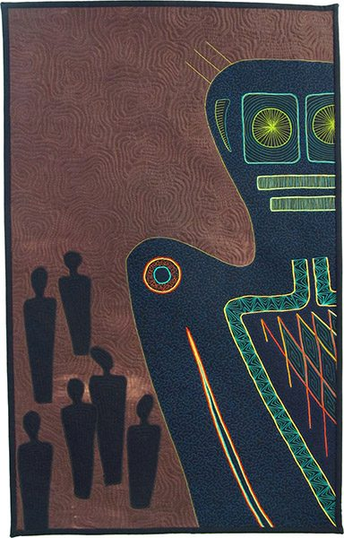 A piece of quilt fine art, with a robotic figure in the foreground and alien figures in the background