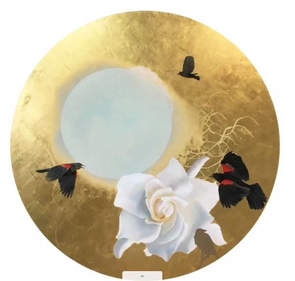 A circular oil painting with flowers and black birds, made with gold leaf
