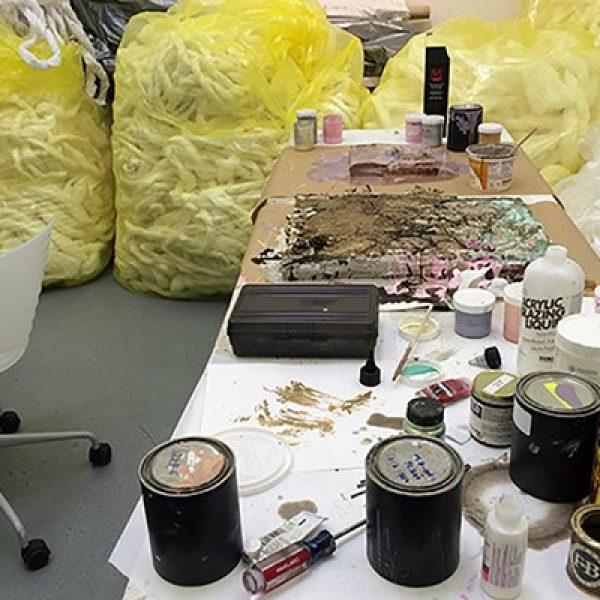 Tools line a table in Renae Barnard's studio