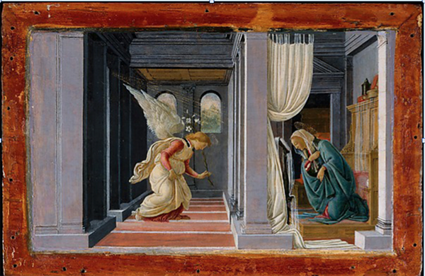 A fifteenth century painting of an angel blessing a woman