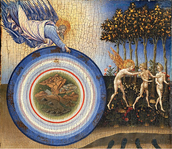 A fifteenth century painting representing the creation of the world and the expulsion from paradise