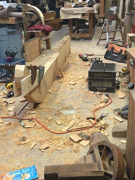 A wooden work in progress in Susan Clinard's studio