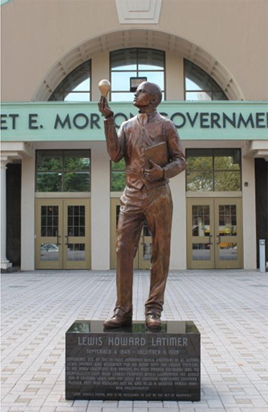 A bronze statue of Lewis Howard Latimer