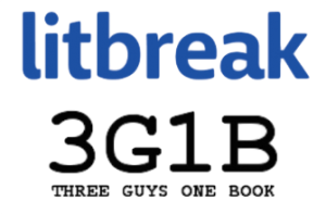 Logos for litbreak and Three Guys One Book
