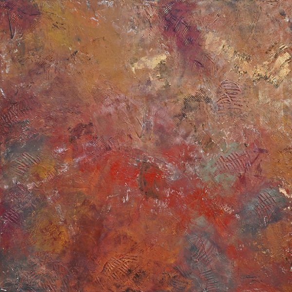 An abstract oil painting with oranges, red, and purple