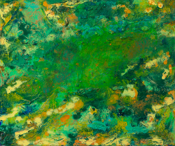 A bright green abstract oil painting