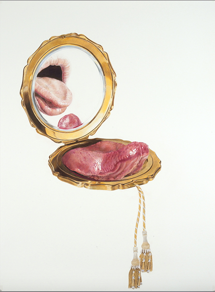 A pencil drawing of a makeup compact with a tongue coming out of it