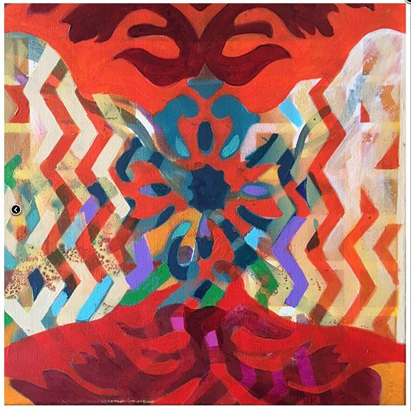 A colorful abstract painting using iconographic symbols