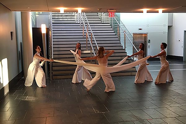 Dancers performing at a local arts center