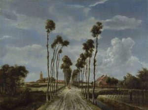 A picture of a road with tall, crooked palm trees lining each side