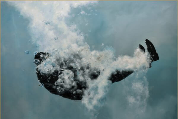 A hyper realistic painting of a man in a suit right after jumping in to a pool