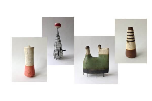 Small mixed media sculptures in eclectic colors and shapes