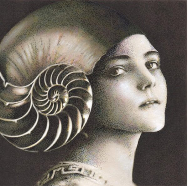 A mixed media work of a woman wearing a shell as a headpiece
