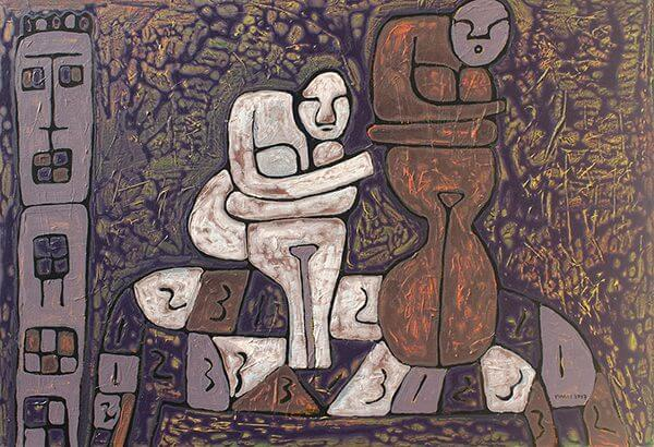 An abstract painting of two figures sitting on a bench