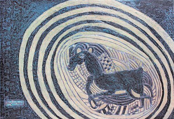 An abstract painting of a running horse