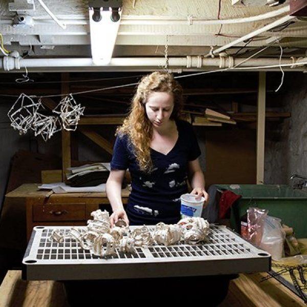 Papermakerr and artist Hanna Vogel in her studio