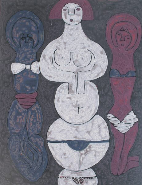 A painting of three abstract belly dancers