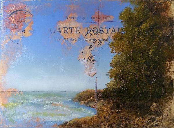 An oil painting of a coast line painted on an old postcard