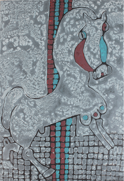An abstract painting of a horse by Nguyen Thi Mai