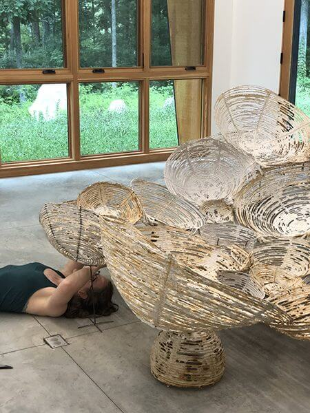 Hanna Vogel working during a residency