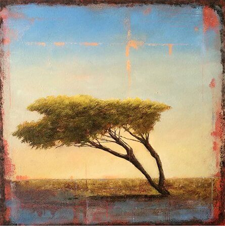 An abstract oil painting of a tilted tree in the wind