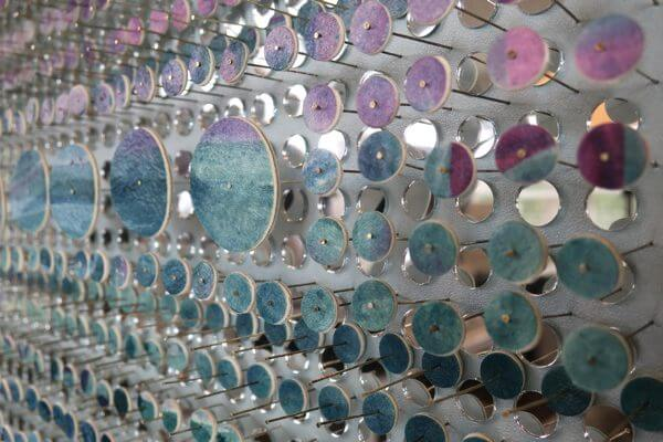 A close-up of the small circles and mirrors.