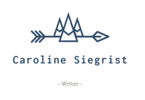 A writers's name with a line drawing of an arrow and mountains on top