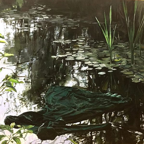 Painting of a green dress in a pond by Jean Sbarra Jones
