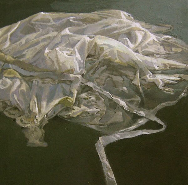 A painting of a white dress floating in water by Jean Sbarra Jones