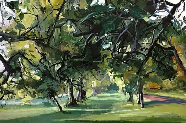 A painting of a park, with trees and greenery. By Jean Sbarra Jones
