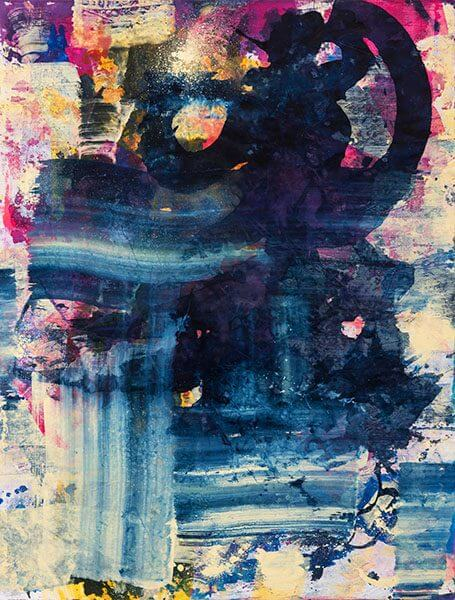 Abstract ink print with pink, yellow, and blue shades