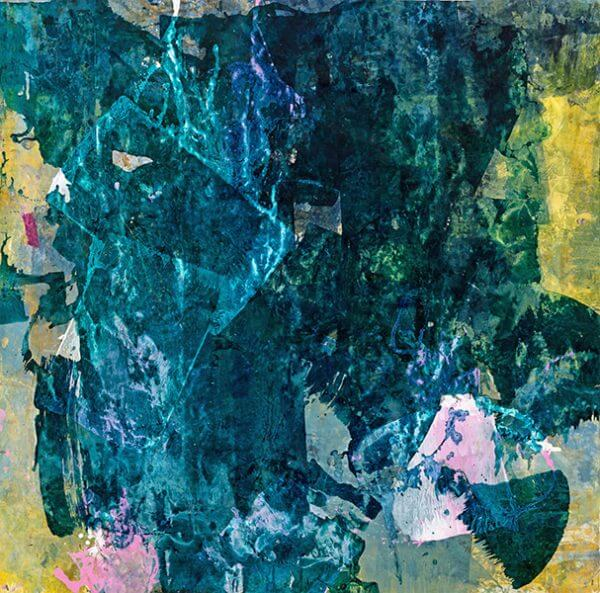 Abstract ink print with teal and yellow shades