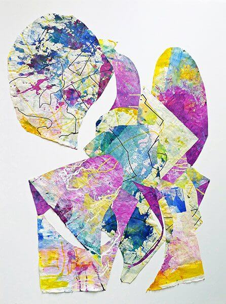 Yellow, blue, and purple abstract ink print