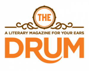 An orange and brown logo for The Drum literary magazine