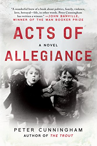 A book cover with red text and a black and white photo of boys in the background