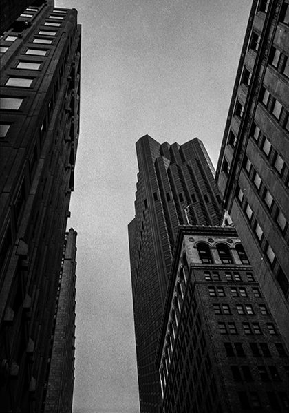 Black and white photograph of skyscrapers in downtown San Francisco