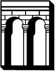 A black and white drawing of a brick archway