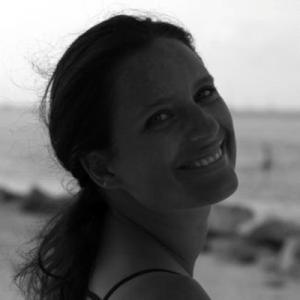 Black and white headshot of artist Sandrine Hermand-Grisel